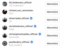 The members of Rammstein have their Instagram profile