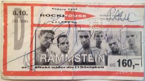 A signed ticket for the concert of October 10, 1996