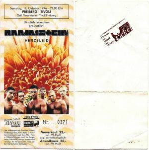 The ticket for the last concert of the Herzeleid tour, on October 12, 1996